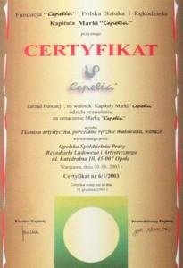 "Certyfikat Marka ""Cepelia"""